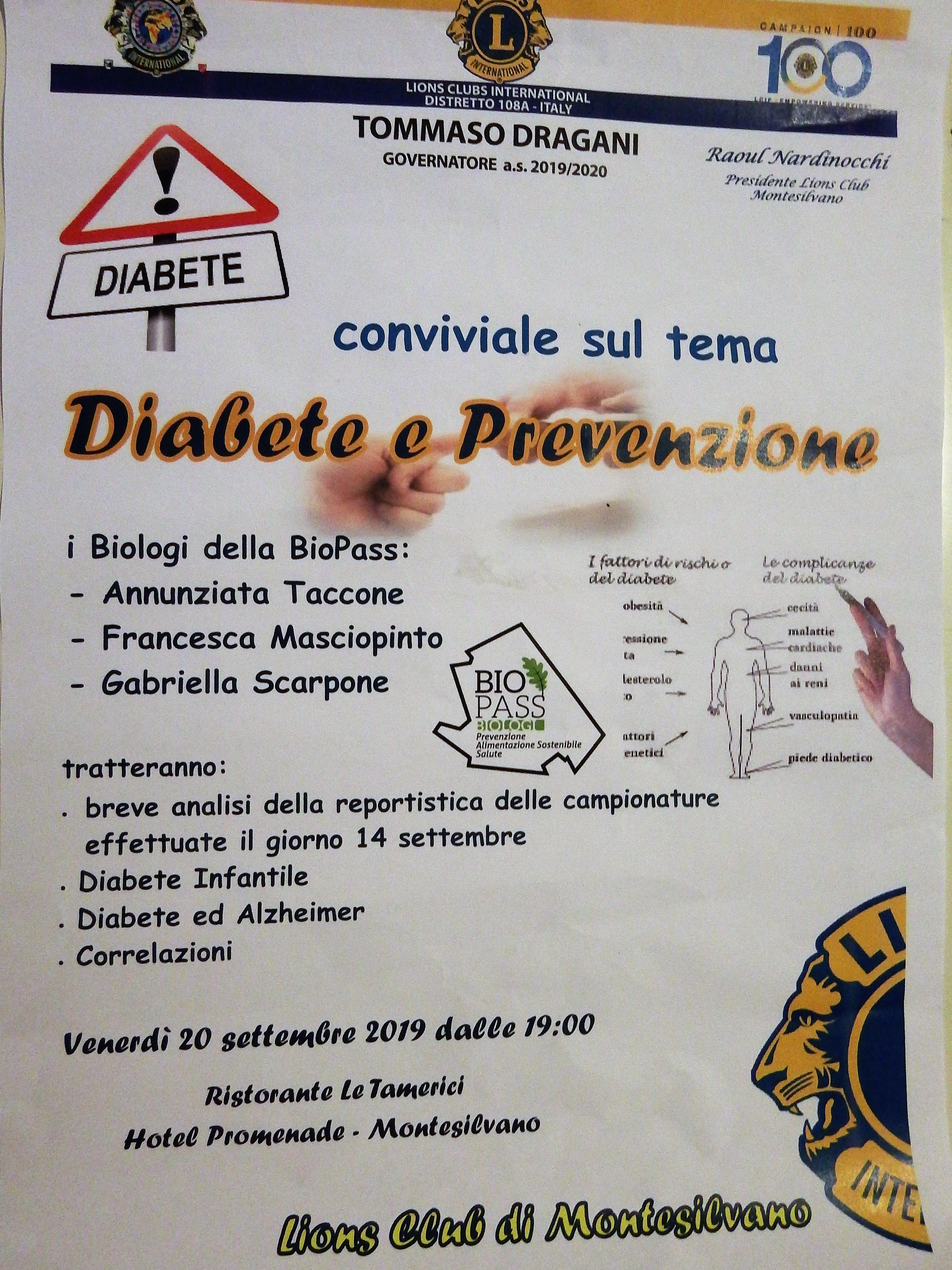"""Conviviale """"Diabete e prevenzione"""""""